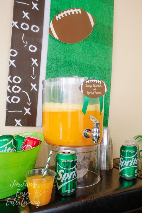 one of my favorite football party drinks - mango sherbet and Sprite punch