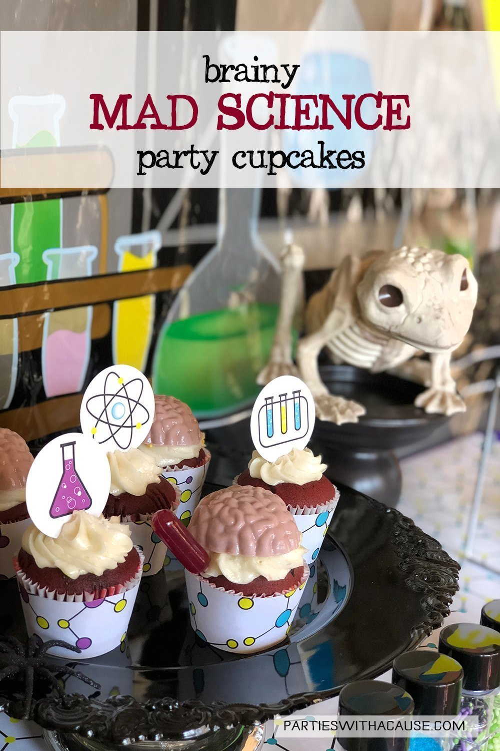 creepy Halloween cupcakes for a mad science party