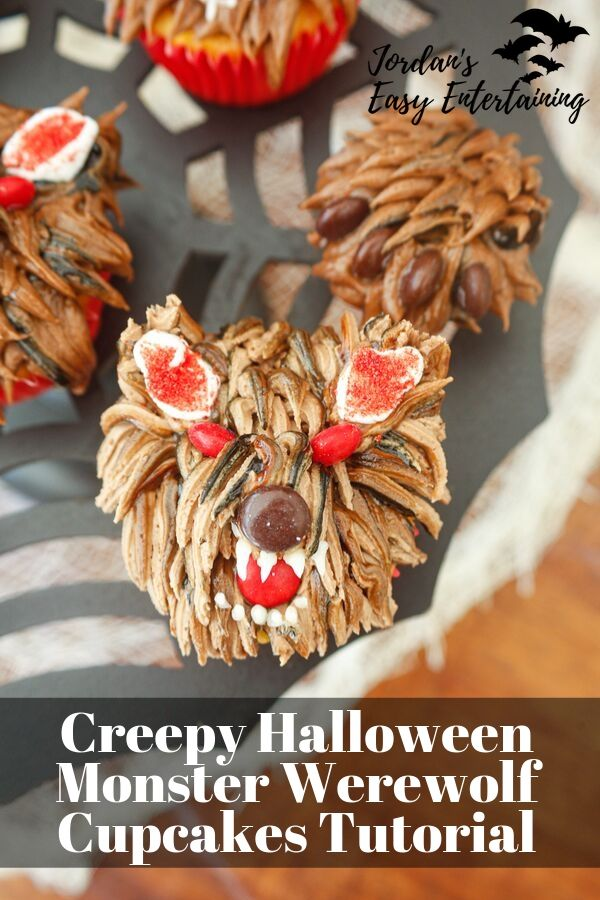 these little chocolate buttercream werewolves make such creepy Halloween cupcakes