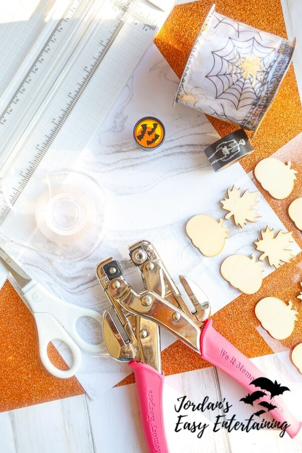 supplies for making Halloween decorations