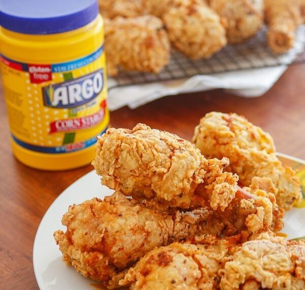 easy crispy fried chicken recipe made with Argo Corn Starch