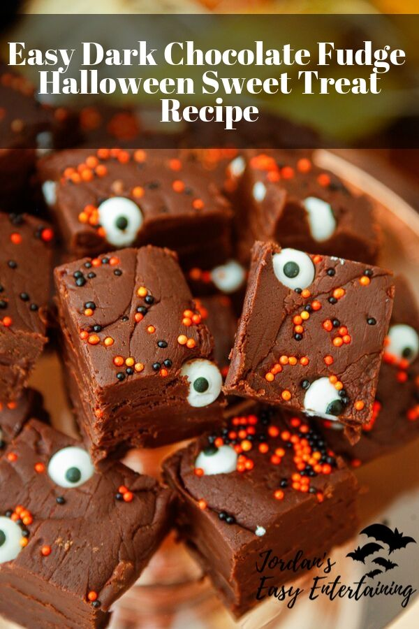 an easy Halloween dessert recipe for dark chocolate fudge