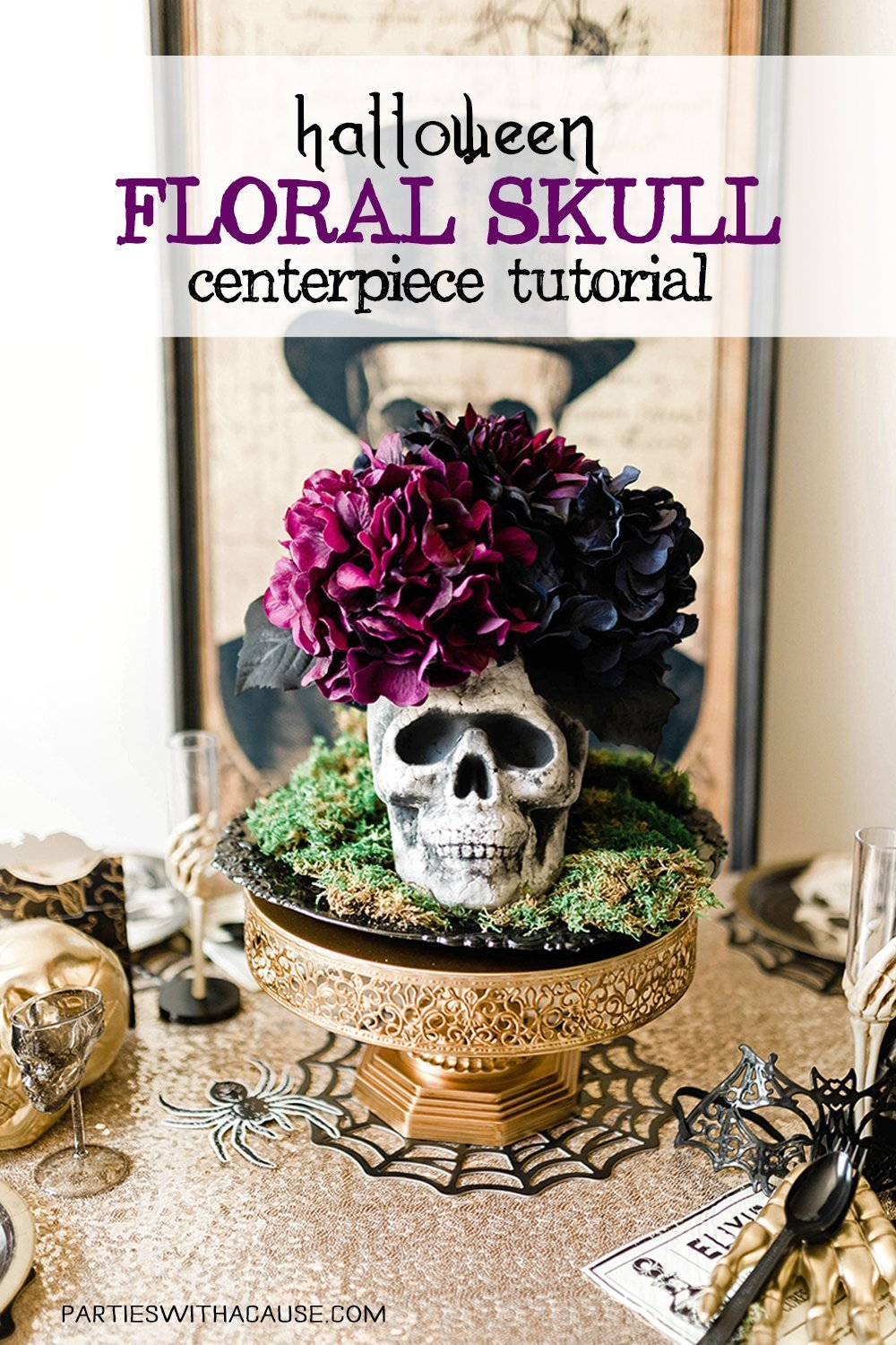 A fun adult Halloween crafts - this floral skull centerpiece over at Parties With A Cause