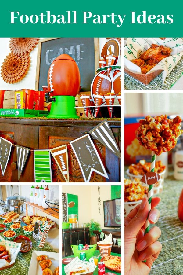 so many football party ideas! Lots of football game foods, football decorations, and other football party supplies