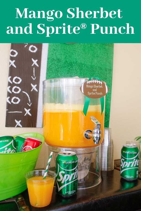 A super easy mango sherbet and Sprite punch at a football party