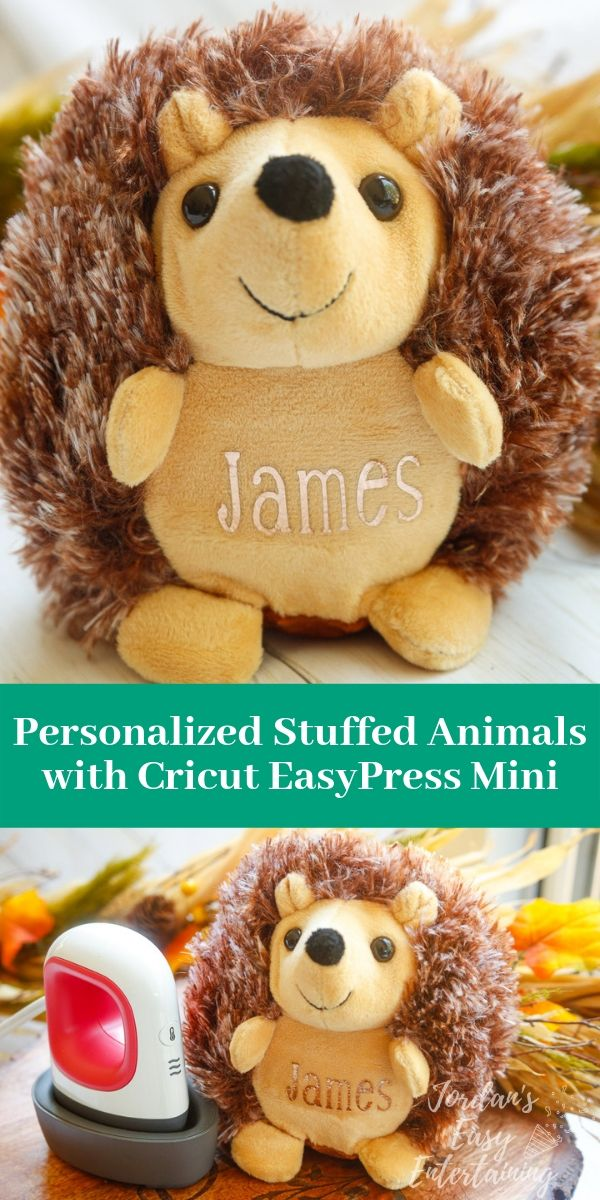 A personalized stuffed animal made with the new Cricut Easypress Mini