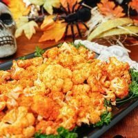 Spicy Buffalo Cauliflower Healthy Halloween Party Appetizer Recipe