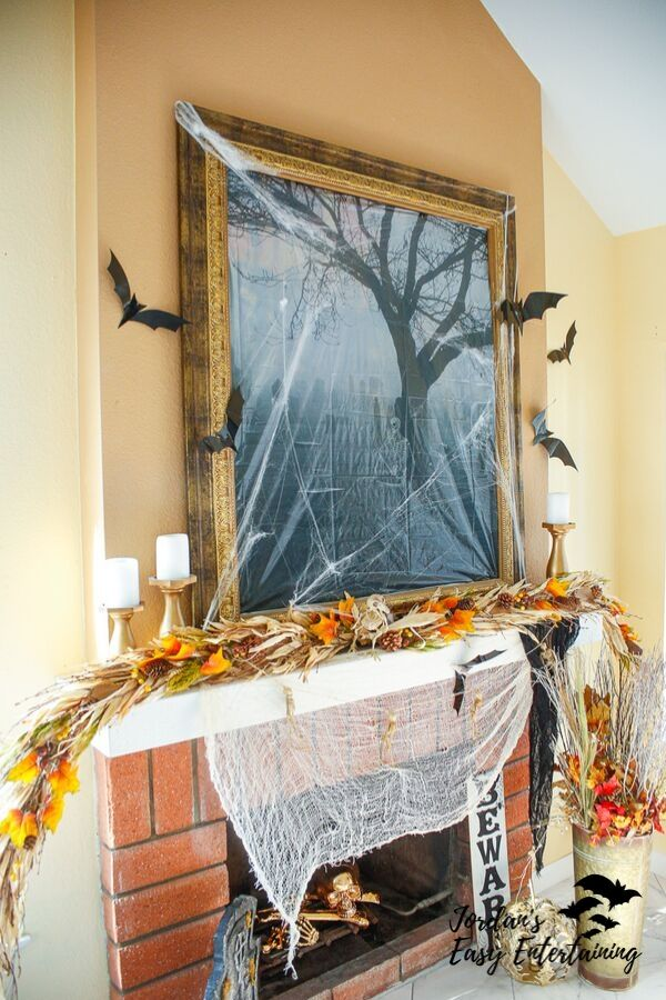 Spooky Fireplace Mantel Halloween Home Decoration Ideas ...