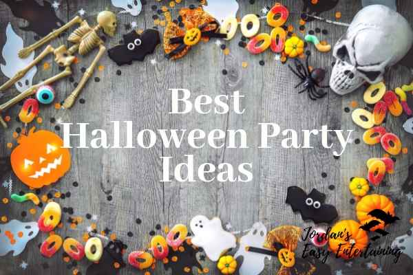a graphic with candy, skeletons, ghosts and pumpkins that says the Best Halloween Party Ideas