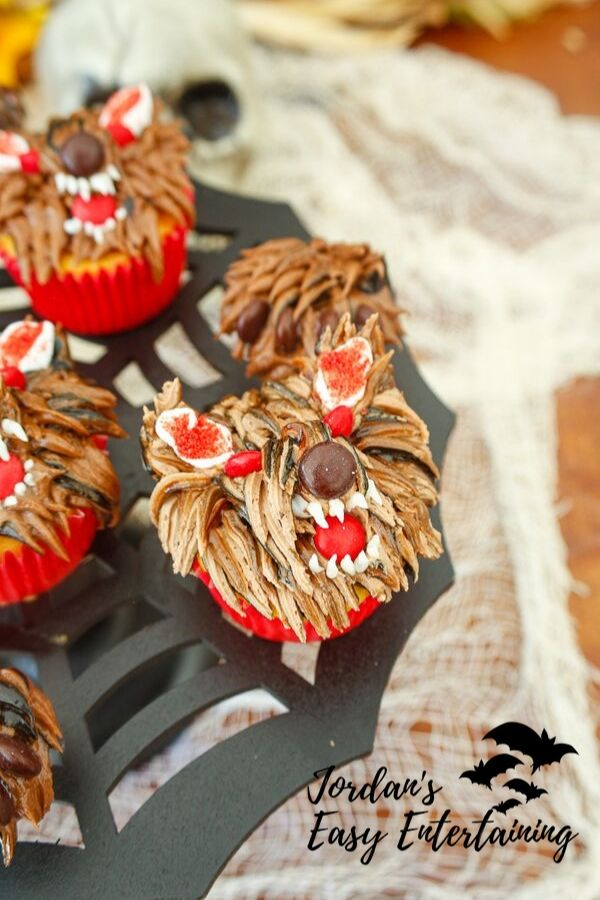 werewolf cupcakes on a spiderweb cake stand