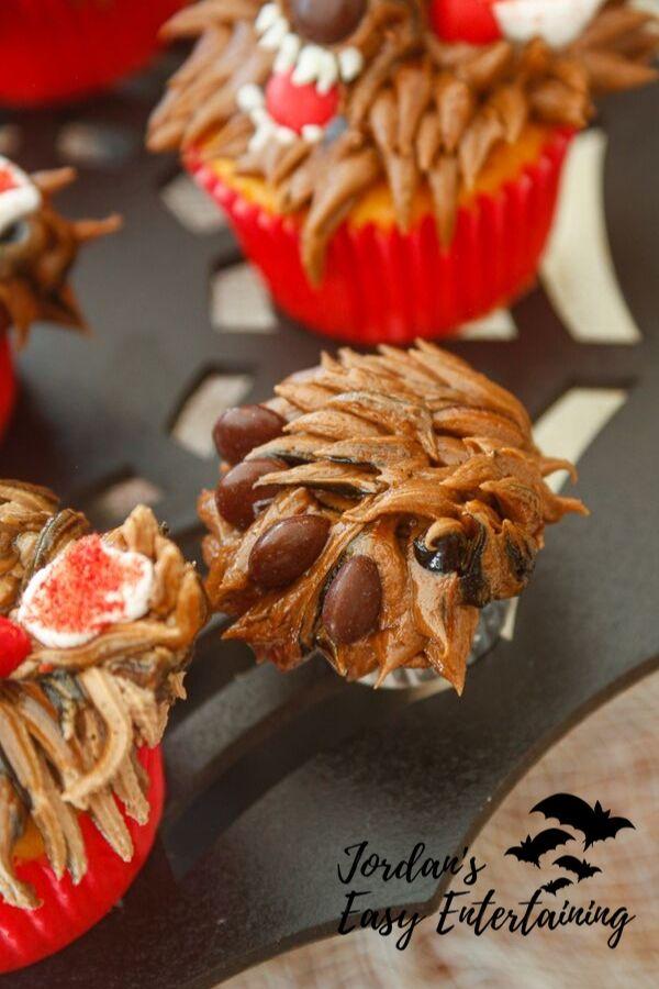 a werewolf paw cupcake perfect as a Halloween dessert for kids