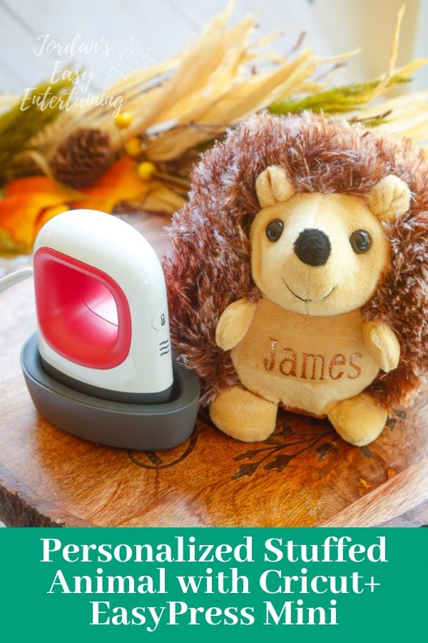 An adorable stuffed animal hedgehog personalized with Cricut Iron-On and the new Cricut EasyPress Mini