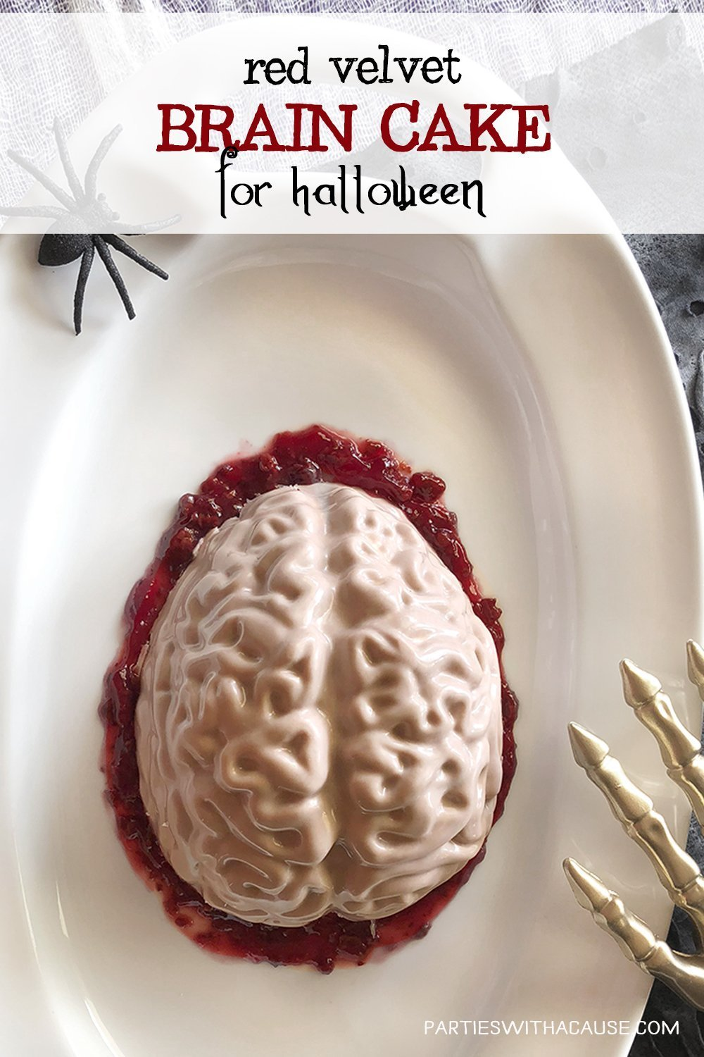 a super creep and fun Halloween sweet treat recipe for red velvet brain cake