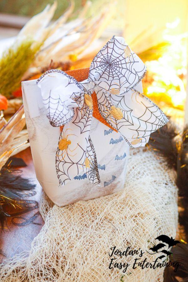 a beautiful homemade Halloween party favor bag