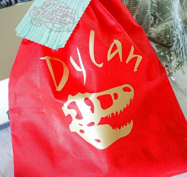 a red gift bag with a gold dinosaur skull