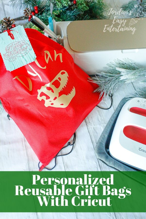 a personalized reusable gift bag made with Cricut