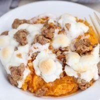 Sweet Potato Casserole with Marshmallows and Streusel
