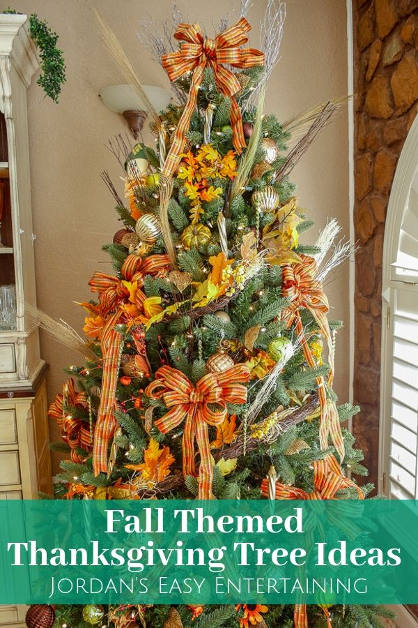 a fall themed Thanksgiving tree with elegant Thanksgiving decorations