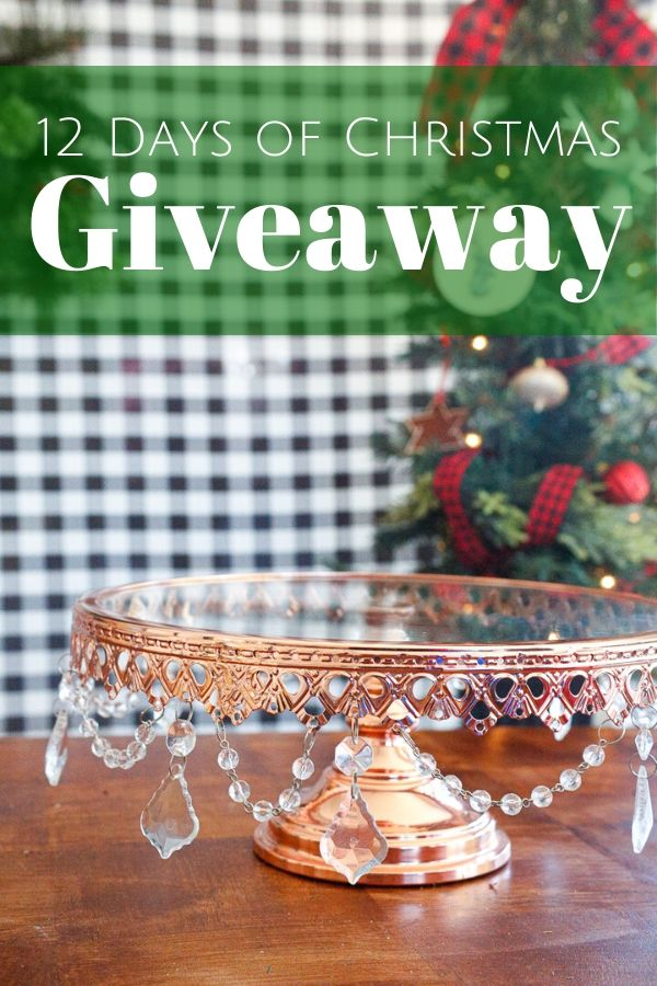 a rose gold cake stand as a giveaway prize