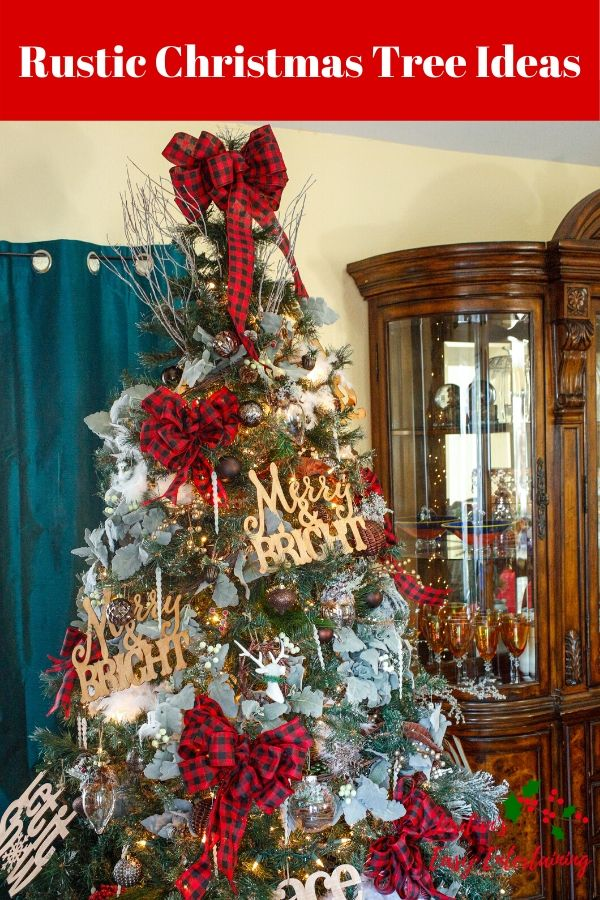 a rustic Christmas tree with buffalo plaid ribbon and wooden ornaments