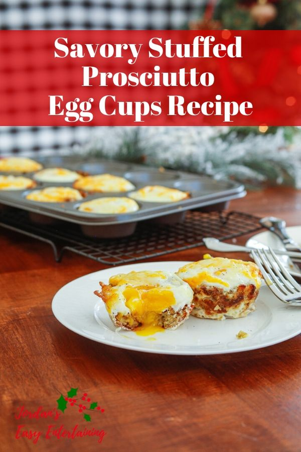 egg cups in muffin tin with prosciutto, stuffing, and cheese