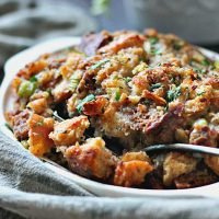 Traditional Bread Sausage Stuffing recipe ~ A Gouda Life