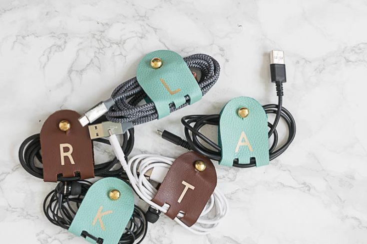 Make DIY Monogrammed Leather Cord Keepers • Nourish and Nestle