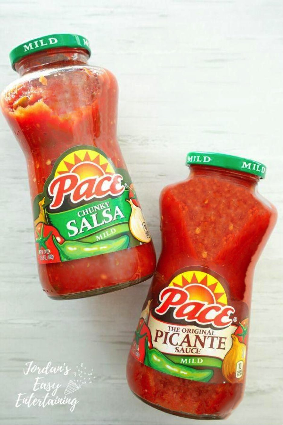 a jar of Pace Chunky Salsa and a jar of Pace Picante Sauce