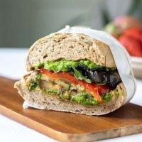 Roasted Vegetable Sandwich with Pea Pesto