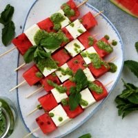 Take-Along Watermelon Skewers with Feta and Mint Pesto • Happy Kitchen