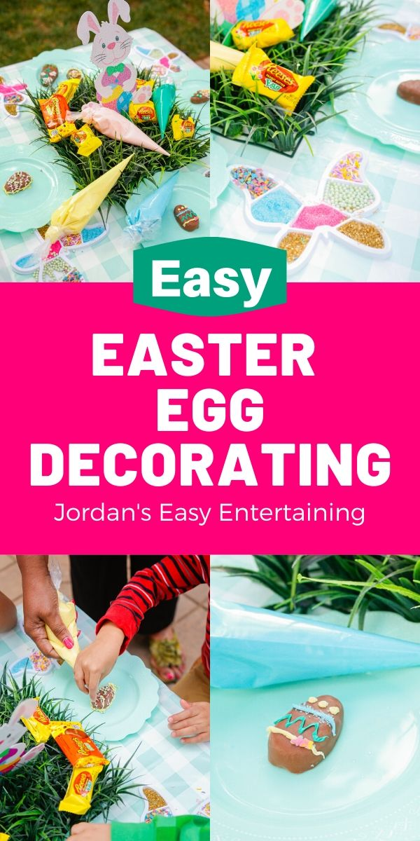 decorating chocolate eggs for an Easter at home celebration