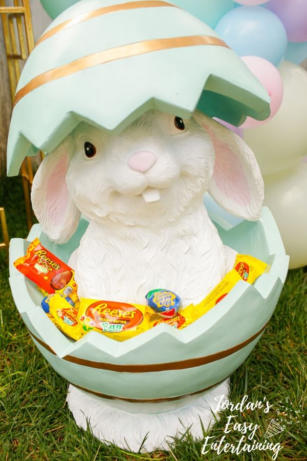 An Easter bunny decoration with REESE'S Eggs and Cadbury Creme Eggs