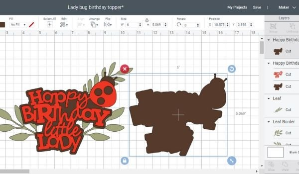 Cricut Design Space ladybug birthday party cake topper