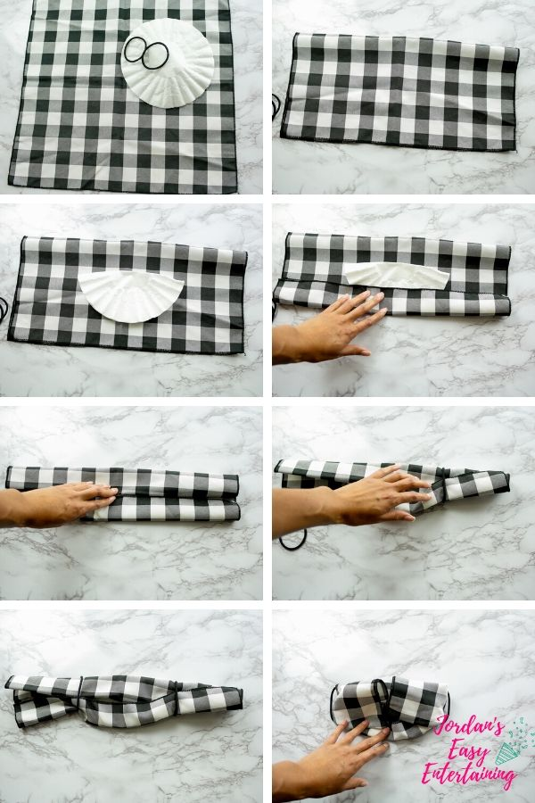 how to fold a napkin or bandanna to make a face mask with a filter and hair ties