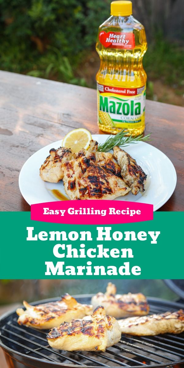 a plate of grilled marinated chicken with a lemon honey marinade
