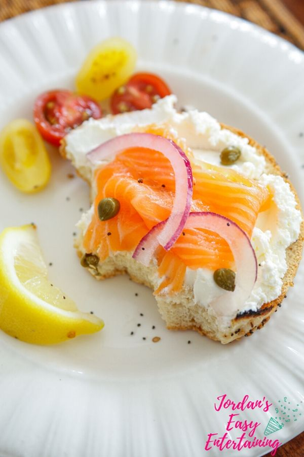 bagel with lox and cream cheese and capers