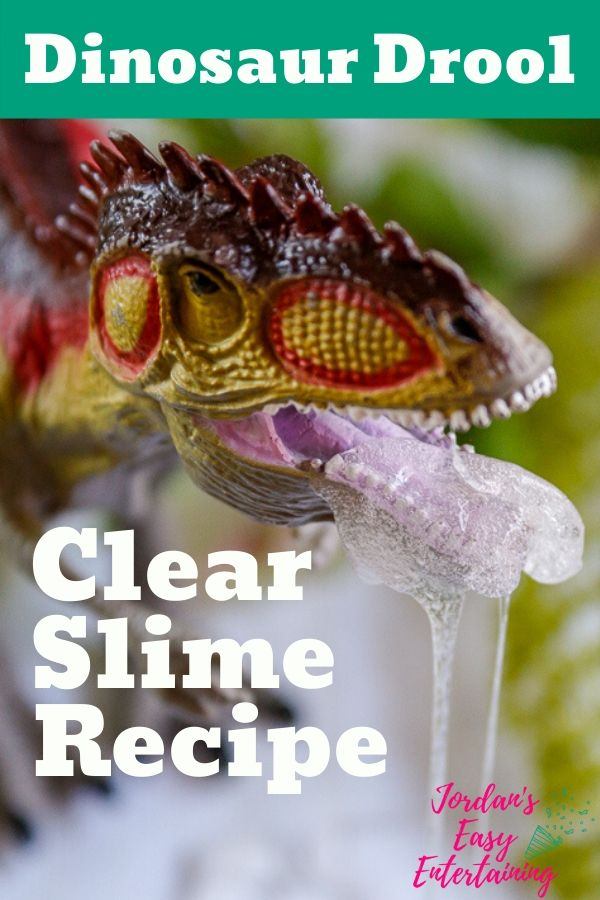 A dinosaur toy with clear slime