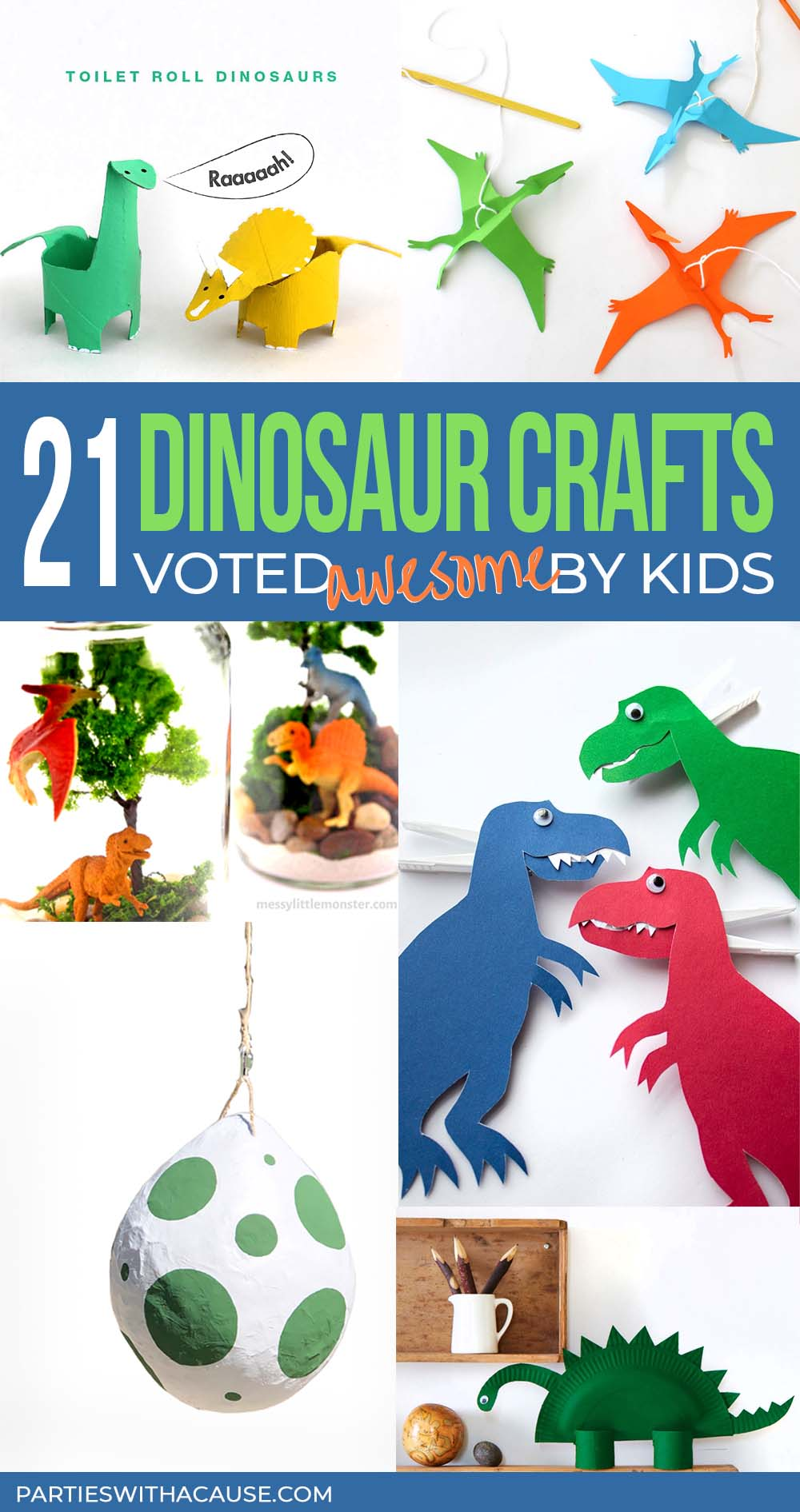 a roundup of dinosaur crafts for kids