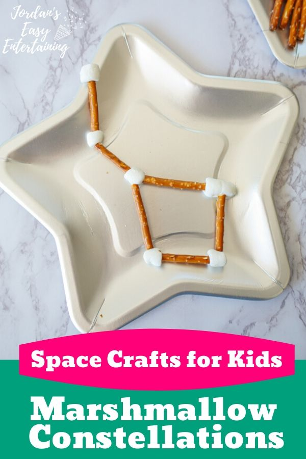 a star plate with a fun space craft for kids - marshmallow constellations