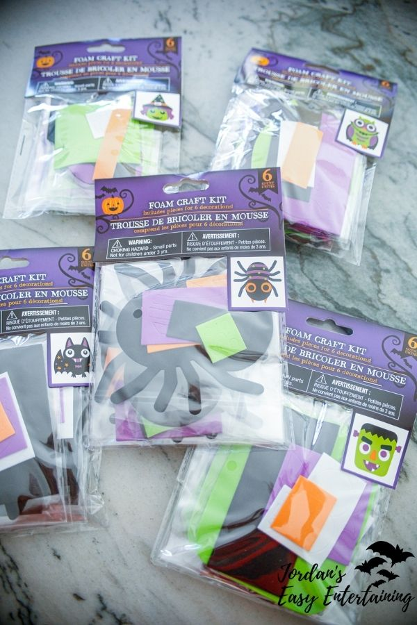 packages of the Dollar Tree Halloween crafts for kids kits