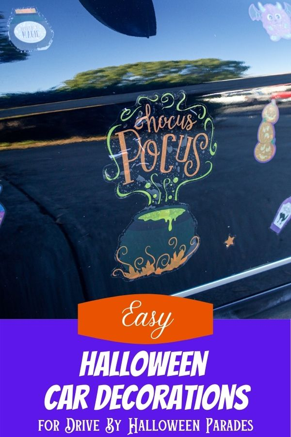 Halloween window clings used as car decorations