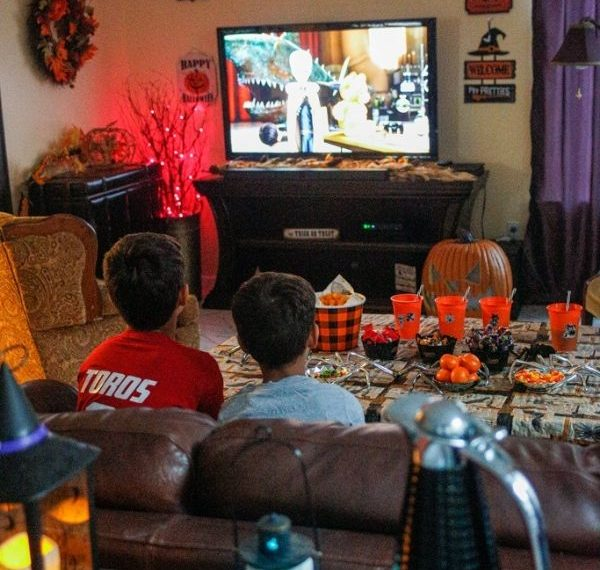 a Halloween family movie night setup