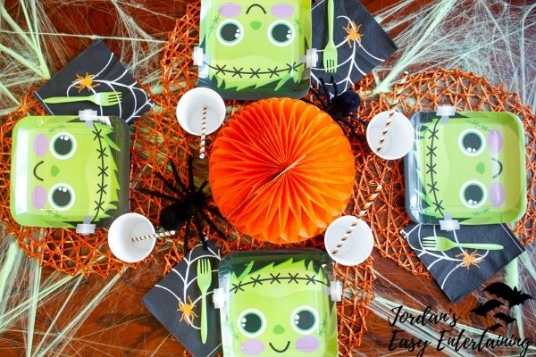an adorable Frankenstein themed Halloween table setting for kids