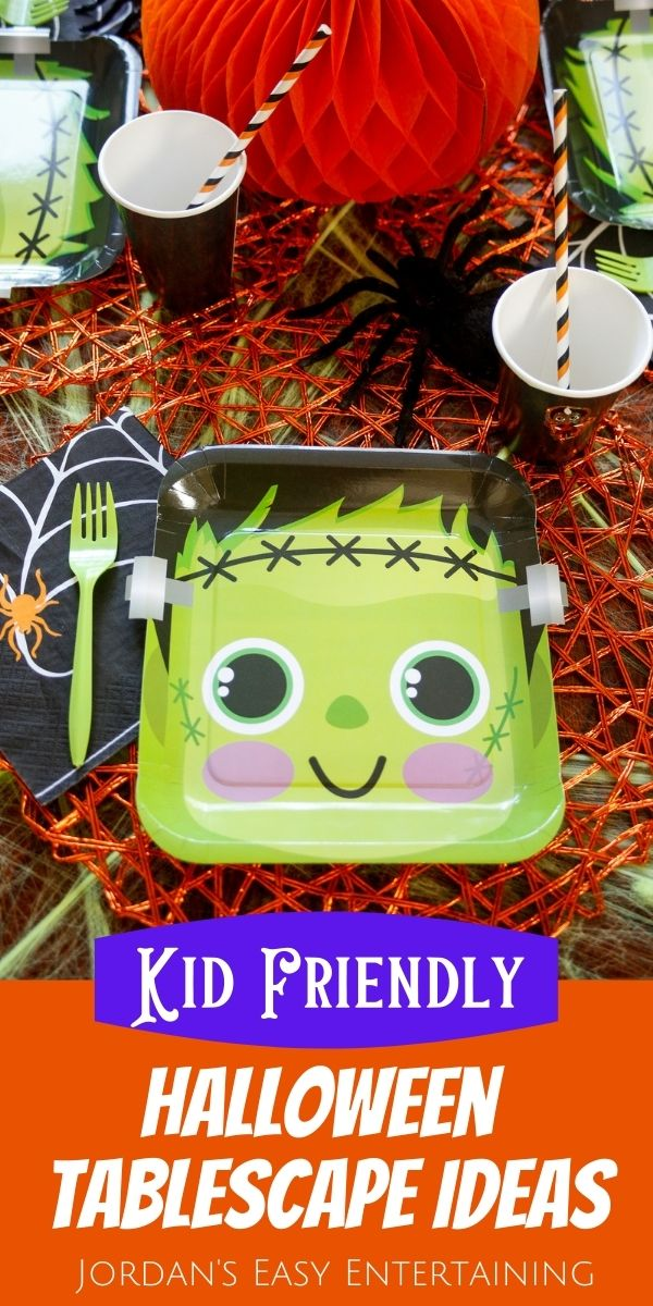 Kid friendly Halloween tablescape ideas including Frankenstein plates and a pumpkin centerpiece.