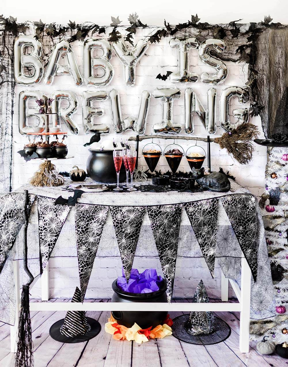 a baby is brewing baby shower party table