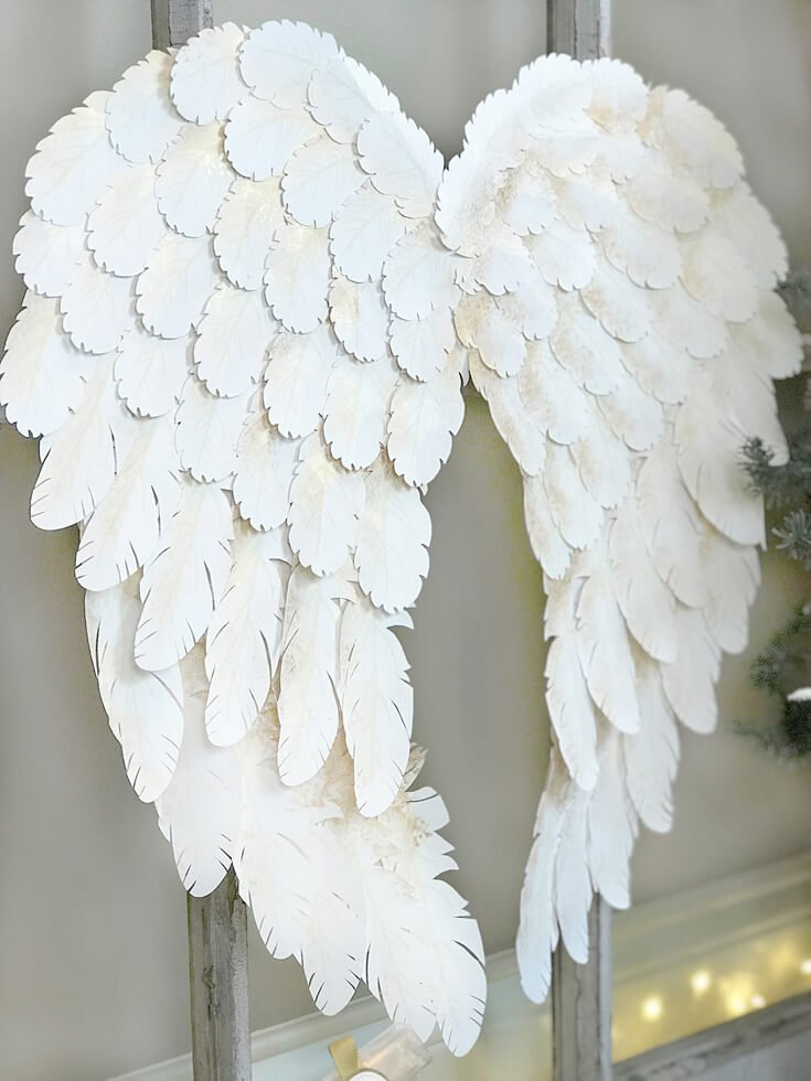 paper angel wings made with a Cricut machine