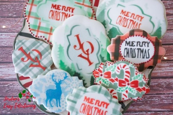 a plate of Christmas cookies decorated using a Cricut Maker