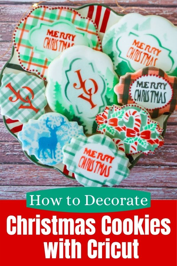 Christmas cookies decorated with Cricut