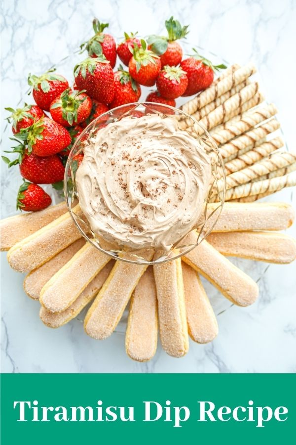 tiramisu dip with fresh strawberries, lady fingers, and pirouettes